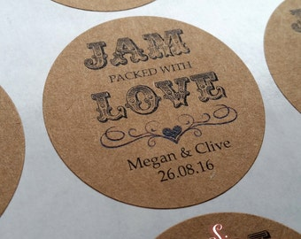 Jam packed with love Kraft Brown Favor Sticker Labels