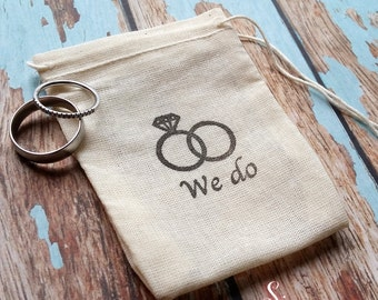 We do wedding  band ring bag. Ring pillow alternative, ring bearer accessory, rustic wedding, ring warming ceremony.