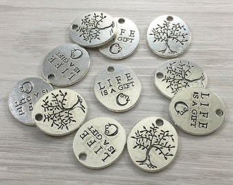 30pcs  Tree Of Life Charms, Tree Of Life Pendants , Tree of life Necklace  Antique Silver