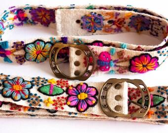 Wool handmade embroidered floral belt