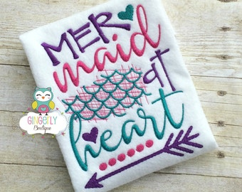 Mermaid at Heart Shirt or Bodysuit, Mermaid Shirt, Mermaid, I Love Mermaids, Mermaid Tail, Mermaid Hair, Mermaid at Heart