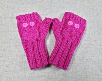 "Fingerless Gloves ""Owl"" for babies and toddlers, 1T deep pink, arm warmers, mittens wool merino, wrist warmers"