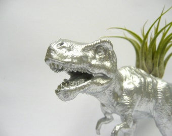 Silver T-rex Planter with Air Plant // Dinosaur Planter // Coworker Gift // For Her // For Him // dino planter // housewarming present //