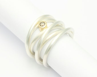 Coiled ring - silver with rose gold and brillant