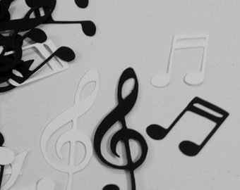 Black and White Music Notes Table Confetti / Musical Theme Party Decor Decoration Table Scatter Scrapbook Embellishments  / 100 Pieces