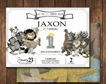 Where The Wild Things Are Invitation; digital file, printable