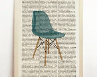 Vitra DSW Chair Poster Charles Eames Print Mid Century Danish Modern Furniture Art Upcycled Decor Art Book Dictionary