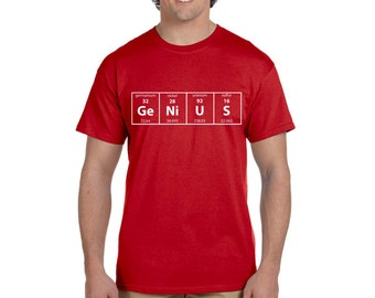 Genius Men's Geek T-shirt Funny Periodic Table Science Tee