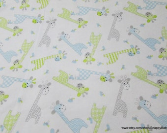 Flannel Fabric - Giraffes and Birds on White - 1 yard - 100% Cotton Flannel