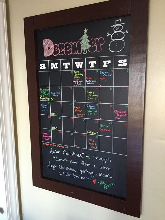 Chalkboard Calendar Framed : Items similar to framed wall chalkboard calendar on etsy