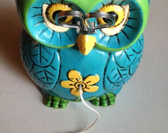 1970s blue and green owl string dispenser with scissors