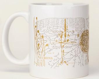 Neurons Mug | Brain Anatomy Ceramic Coffee Mug, Anatomical Brain, Neuroscience, Nursing, Greys Anatomy, Nurse, Nursing, Teacher Gift Vintage