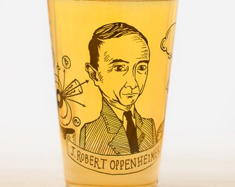 J. Robert Oppenheimer Beer Glass | Scientist Pint Glass, Nerdy physics gift for him or her, graduation gift, physics, Genius, Smart Gift