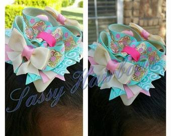 fancy aqua/pink hairbow