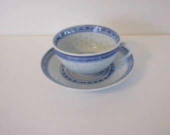 Chinese Rice Pattern Tea Cup and Saucer