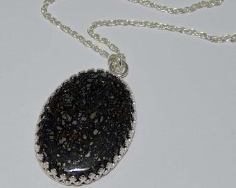 Pendant - Pyrite in Black Agate. Pyrite in Black Agate Necklace. Pyrite. Black Agate. Pyrite with Black Agate