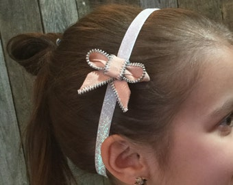 Zipper Bow Headband - light peach