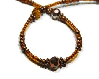 Eyeglass Chain ~ Eyeglass Holder ~ Reading Glasses Leash ~ Sunglasses Chain ~ Beaded ~ Copper ~ Topaz ~ Crystal