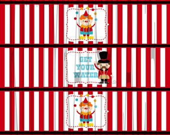 circus bottle water labels