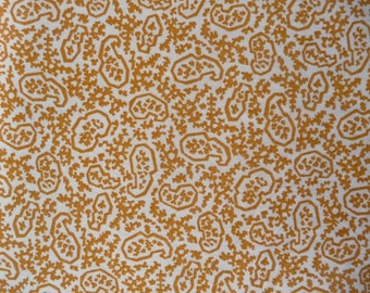 """Vintage Abstract Geometric Paisley Print Medium Weight Cotton Fabric, c. 1960's (35"""" Wide, Sold By The Yard)"""