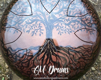 AM Drum - Special unique design - melodic steel tongue drum - hank tank slit drum - special design hand-painted for you - handpan hand pan