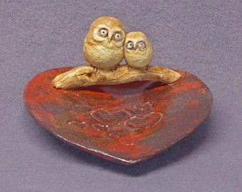 Handmade Ceramic Dish with an Owl Family - Trinket Holder, Ring Holder, Jewelry Holder, Ceramic Owl,  Ceramic Art,