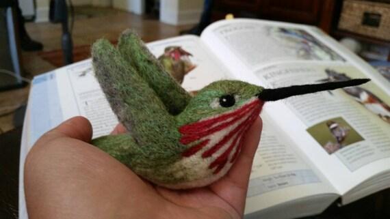 Calliope Hummingbird. Needle felted wool sculpture ornament of bird