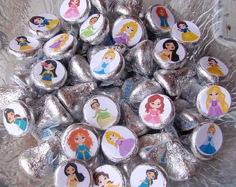 Candy Stickers, Princess Party, Kiss Labels, Fairytale Party, Girls Birthday,  Party Favors, Printed