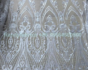 New fashion off White/ivory wedding dress lace fabric mesh embroidery lace fabric 51 inches width by the yard