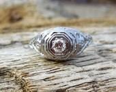 Vintage Antique .20ct Old European Cut Diamond Unique Engagement Ring Art Deco 1920 18k White Gold