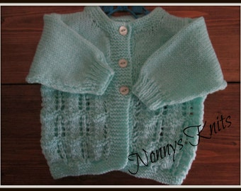 Hand knitted vintage style cardigan 0-3 months