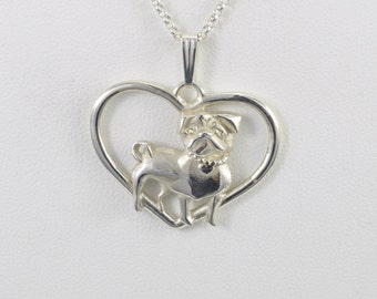 Sterling Silver Pug Necklace fr Donna Pizarro's Animal Whimsey Collection of Silver Pug Jewelry and  Silver Pug Pendants