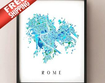 Rome Colored Art Map - Roma, Italia Arte - Artistic Rome Italy Print