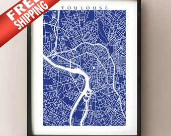 Toulouse Map Print - France Art Poster