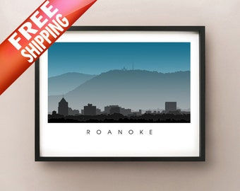Roanoke Skyline Art - Virginia Poster Print