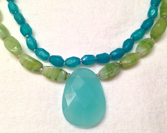 SALE- Vintage Teardrop Aqua Chalcedony and Green Turquoise Glass Sterling Clasp Necklace SALE
