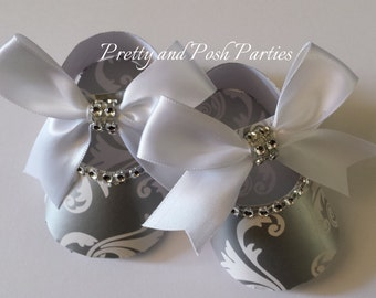 10 Adorable Silver Grey Damask Rhinestone Paper Shoe Favor Boxes