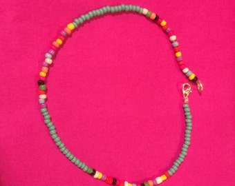 Turquoise and multi coloured czech glass seedbead  anklet with silver plated lobster claw clasp