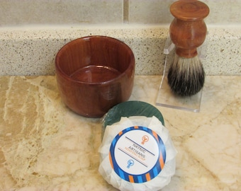 Handmade Shaving Brush and Lather Bowl Combo  set  in (RED ELM)(including a free sample Shaving Soap Puck)