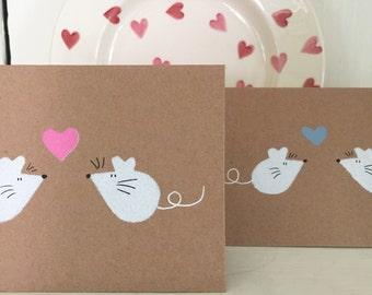 Monty & Margot Mouse Heart Engagement Wedding Anniversary Card