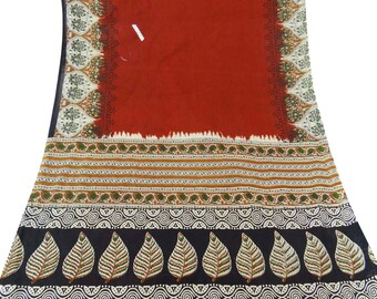 Vintage Orange Dress Pure Cotton Fabric Recycle Saree Clothing Women Wrap Floral Printed Decorative Fabric 5Yard CS5954