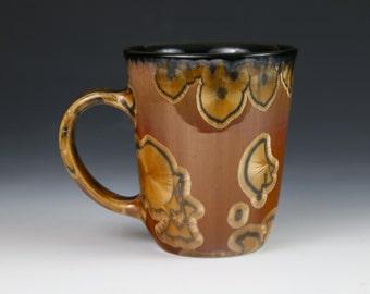 "Crystalline 11 oz Mug Golden Brown Honey Caramel Adobe ""Tiger Eye"" with Black Cup #8637"