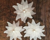 Ivory Set Of Three Satin Layered Lily Flower Wedding Decoration Favor Card Making Invitation