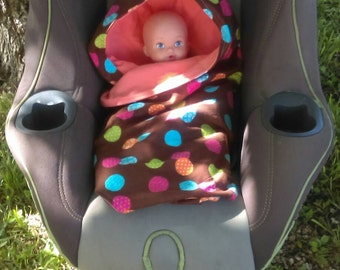 Car Seat Blanket - Swaddle - Stroller Blanket - Colorful Dots