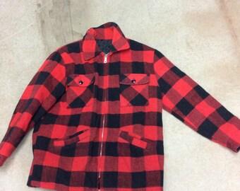 Vintage Red and Black Flannel Hunting Jacket - Men's Size Medium