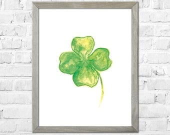 Clover Watercolor Print,Clover Watercolor Painting, Clover Art Print, Green Decor