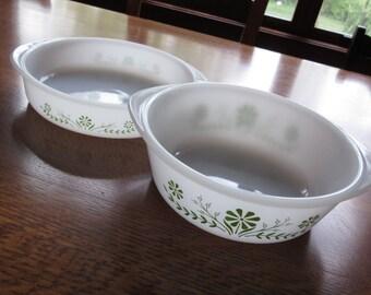 Pair of Vintage Glasbake Green Daisy Bowls, Glasbake Dishes, Casseroles, White Glass, Mid Century, Daisies, Retro Kitchen,Green White Dishes