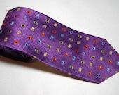 Bright royal purple with multi-coloed rhinestones necktie