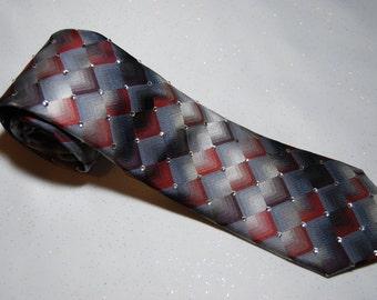Grey and maroon scale rhinestone necktie