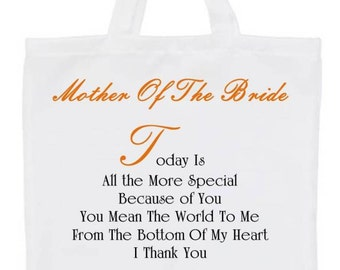 Personalised Wedding Gifts Bags for Mother/Father of the Bride/Groom